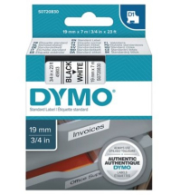 D1    19mm BLACK ON WHITE DYMO TAPE