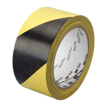 50mm x 33mtr    BLACK & YELLOW ADHESIVE HAZARD TAPE