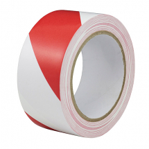 50mm x 33mtr      RED &  WHITE ADHESIVE HAZARD TAPE