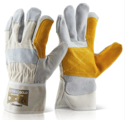 CANDPP   H/Q GOLD  DOUBLE PALM RIGGER GLOVES (PACKED IN 10's)
