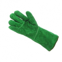 GL015G  14inch MENS GREEN LEATHER GAUNTLETS