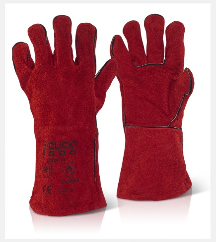 C2W   14inch CAT 2 RED    LEATHER WELDERS GAUNTLETS(PACKED 10'S)