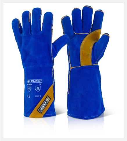 BFHQW 16inch CAT 2 BLUE   LEATHER WELDERS GAUNTLETS(PACKED 10'S)