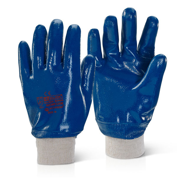 BLUE NITRILE  FULLY COATED K/W GLOVES SIZE 8 (PACKED 12s)