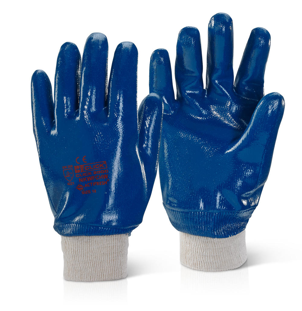 BLUE NITRILE  FULLY COATED K/W GLOVES SIZE 9 (PACKED 12s)