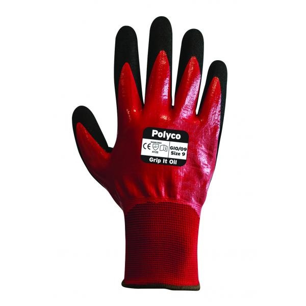 GIO/8      GRIP IT OIL NITRILE GLOVES (PACKED IN 10'S)