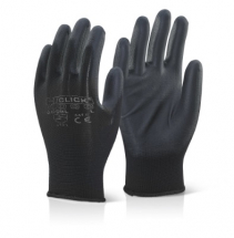 EC9BLM/MEDIUM  BLACK PU COATED GLOVES (PACKED IN 10'S)