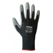 GH100/07  GREY/BLACK PU COATED GLOVES (PACKED IN 12'S)