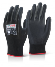 PUGBLL   CLICK BLACK PU COATED GLOVES LARGE  (PACKED IN 10'S)
