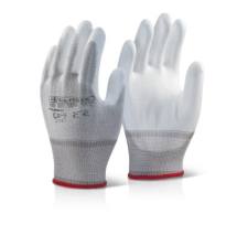 PUGWS    CLICK WHITE PU COATED GLOVES SMALL