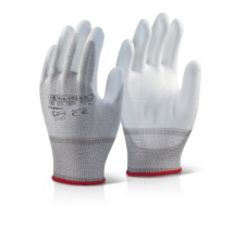 PUGWM    CLICK WHITE PU COATED GLOVES MEDIUM (PACKED IN 10'S)