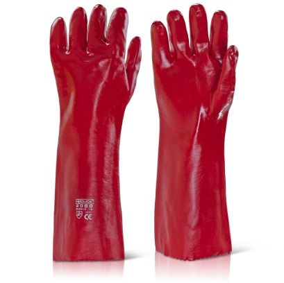 PVCR18   RED PVC GAUNTLETS 18inch (PACKED IN 10's)