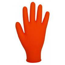 GL2001   DISPOSABLE POWDERFREE ORANGE FINITE GLOVES SML (100)