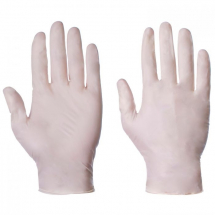 DISPOSABLE POWDERED      CLEAR LATEX GLOVES MEDIUM (100bx)
