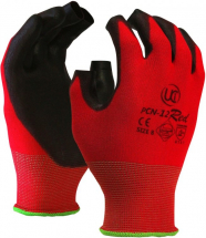 PCN-12RED FINGERLESS PU COATED RED GLOVES SIZE 7 (SMALL)